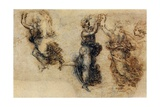 Three Dancing Figures and a Study of a Head Giclee Print by  Leonardo da Vinci