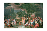 A Turkish Hunting Party with Sultan Ahmed III Giclée-Druck von Jean Baptiste Vanmour