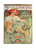 Poster Advertising 'Lefevre-Utile' Biscuits, 1896 Giclee Print by Alphonse Mucha