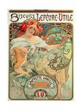 Poster Advertising 'Lefevre-Utile' Biscuits, 1896 Lámina giclée por Mucha, Alphonse Marie