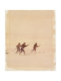 Men on Skis Giclee Print by Edward Adrian Wilson