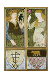 King Arthur and Queen Guinevere, Six Tile Panel Manufactured by Morris, Marshall, Faulkner and Co. Giclee Print by Sir Edward Coley Burne-Jones