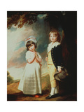 Portrait of Edward Stanley (D.1851) 13th Earl of Derby, with His Sister, Lady Charlotte Stanley Giclee Print by George Romney