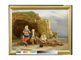Coast Scene with Figures Mending Nets Giclee Print by Thomas Sword Good