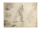 Sketch of a A Cricketer Giclee Print by George Frederick Watts