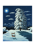 Foxes in Moonlight, 1989 Giclee Print by Liz Wright