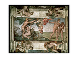 Sistine Chapel Ceiling: The Fall of Man and the Expulsion from the Garden of Eden, with Four Giclee Print by  Michelangelo Buonarroti