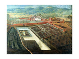 Vegetable Garden, Detail of Panoramic View of Charlton Park, c.1745 (Detail) Giclee Print by Thomas Robins