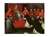 Pope Honorius III (1148-1227) Approving the Order of St. Dominic in 1216 (Detail) Giclée-Druck von Leandro Da Ponte Bassano
