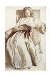 Elizabeth Siddal Reading a Book Giclee Print by Dante Charles Gabriel Rossetti