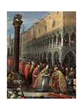 Pope Alexander III (1105-81), at the Head of a Procession, Presents a Sword to a Notable Giclée-tryk af Francesco Bassano