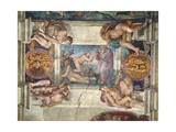 Sistine Chapel Ceiling: Creation of Eve, with Four Ignudi, 1510 (Pre-Restoration) Giclee Print by  Michelangelo Buonarroti