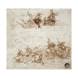 Page from a Notebook Showing Figures Fighting on Horseback and on Foot Giclee Print by Leonardo Da Vinci
