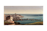 View of the Port of Genoa Giclee Print by Ippolito Caffi