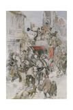 The Christmas Stagecoach Giclee Print by George Wright