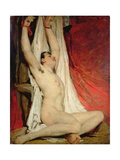 Male Nude, with Arms Up-Stretched, 1828-30 Giclee Print by William Etty