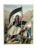 Voyage to Athens and Constantinople: Nickolaki Mitropolos Taking the Standard of the Cross Giclee Print by Louis Dupré