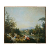 Landscape with Girls by a Stream Giclee Print by Francesco Zuccarelli