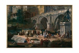 View of a River Port Giclee Print by Luca Carlevaris