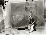 Self Portrait, Working on a Mural for the Lord Mayor's Hall, Obecni Dum, Prague, c.1910 Photographic Print by Alphonse Mucha