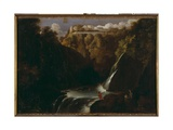 Landscape with Waterfall and House on Hill Giclee Print by Adam Elsheimer