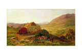 Evening: Cottages on the Braeside Near Castletown, Braemar, c.1860 Giclee Print by Henry Moore