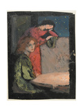 Two Girls by a Table Look Out on a Starry Night, 1905 Gicleetryck av Frederick Cayley Robinson