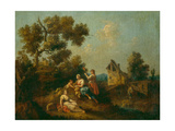 Landscape with Peasants Giclee Print by Giuseppe Zais