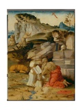 St Jerome Meditating and St Francis Receiving the Stigmata Giclee Print by Francesco Granacci