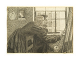 G P Boyce with Fanny Cornforth at Rossetti's Studio, Chatham Place, c.1858 Giclee Print by Dante Gabriel Rossetti