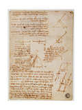 Page from a Notebook with Technical Designs and Notes Giclee Print by  Leonardo da Vinci