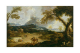 Landscape with Monks and Travellers Giclée-tryk af Marco Ricci