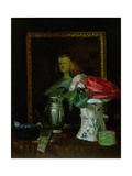 Still Life of Roses, Portrait, Vase and Fan Giclee Print by George Leslie Hunter