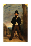Self-Portrait with His Dog, Madame Sacchi, c.1866 Giclee Print by Samuel Bough