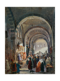 Bazaar of the Jews in Constantinople Giclee Print by Ippolito Caffi