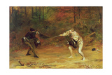'To the Death: a Sword and Dagger Fight with One Hand Beats Cold Death Aside, and with the Other Giclee Print by John Pettie