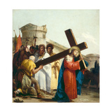 Christ Carrying the Cross, Stations of the Cross, 1747 Giclée-tryk af Giandomenico Tiepolo