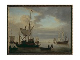 Seascape with Ships Giclée-Druck von Willem Van De, The Younger Velde