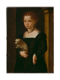 Portrait of a Girl with Dog Giclee Print by Michele Di Ridolfo Tosini