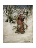 Santa Claus, Illustration from 'Arthur Rackham's Book of Pictures', 1907, Published 1913 Giclée-tryk af Arthur Rackham