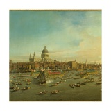 The River Thames with St. Paul's Cathedral on Lord Mayor's Day, c.1747-8 (Detail) Giclee Print by  Canaletto