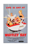 'Life Is Gay at Whitley Bay' - British Railways Poster Giclee Print by Laurence Fish