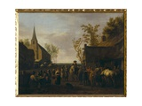 Village with Horse Traders Giclee Print by Gerrit Adriaensz Berckheyde
