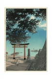 Chuzenji Temple at Utagahama - Tori Gate and Ferry Giclee Print by Kawase Hasui