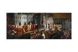 The Arrival of the Dogaressa Morosina Morosini Grimani at the Palazzo Ducale Giclée-Druck von Andrea Vicentino