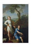 Capture of the Fish in the River Tigris by the Young Tobias, 1733 Giclee Print by Pierre Parrocel