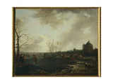Landscape with Frozen Ponds Giclee Print by Adriaen van de Velde