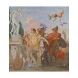 Rinaldo Leaving Armida's Garden Giclée-tryk af Giandomenico Tiepolo