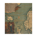 Map of Iceland, Scotland, Norway and Sweden Giclee Print by Giustino Menescardi
