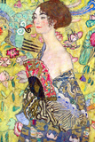 Gustav Klimt Lady with Fan Plastic Sign Plastic Sign by Gustav Klimt